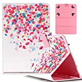 Universal 10 inch Tablet Protective Case,Folio Cover Leather Case,Compatible with All Universal 10 inch Tablets PC [Colored Petals]