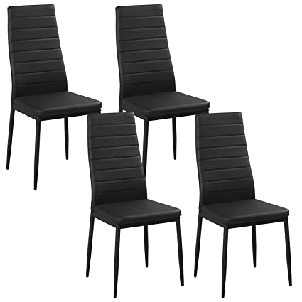 4x Black High Back Faux Leather Dining Chairs Metal Legs Kitchen Dinning Room