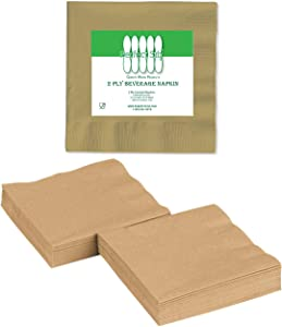 2 Ply Gold Beverage Napkins (Pack of 100ct)