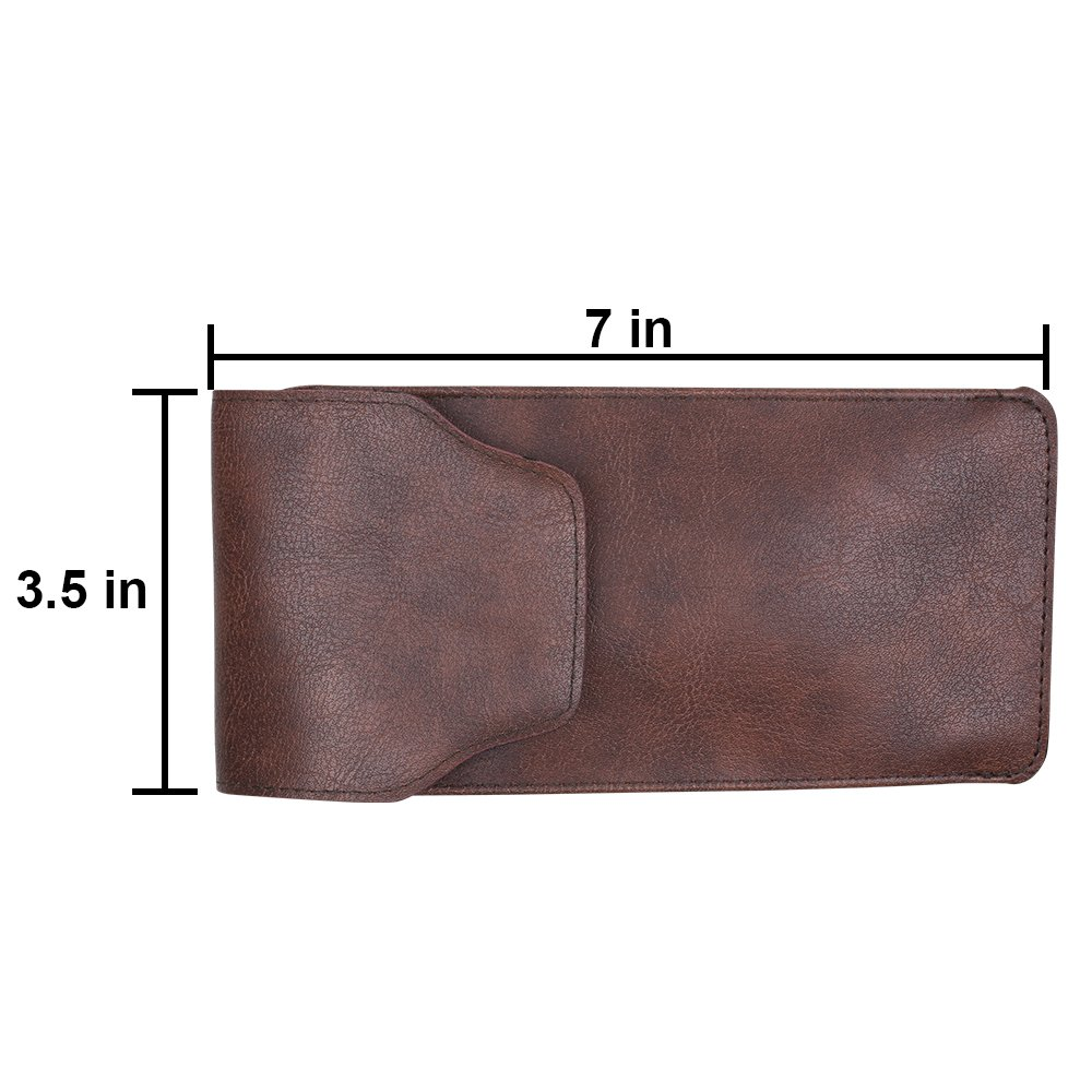 By OptiPlix Slip In Glasses Case Compact Protective Sleeve Protects Eyeglasses and Eyewear from Scratches and Damage PU Leather Pouch with Pocket Clip