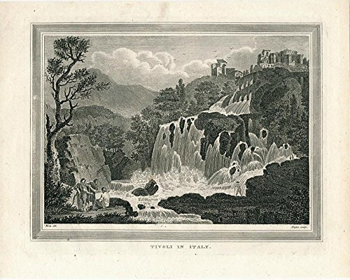 Waterfalls at Tivoli in Italy ca. 1830 era old vintage view print