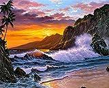 21secret 5D Diamond Diy Painting Full Round Drill Handmade Sunset Beach Rough Waters Landscape Cross Stitch Home Decor Embroidery Kit