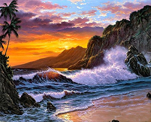 21secret 5D Diamond Diy Painting Full Round Drill Handmade Sunset Beach Rough Waters Landscape Cross Stitch Home Decor Embroidery ()