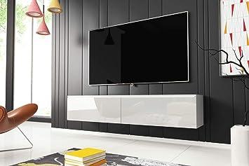 Kane – Fernsehschrank/TV-Lowboard Hängend in Weiß Hochglanz mit LED ...