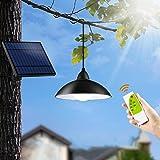 Konesky Luz Solar al Aire Libre, 12 LED Lámpara Colgante Impermeable Retro Candelabro Control Remoto Lámpara Cable 3M 3 Modos de Iluminación