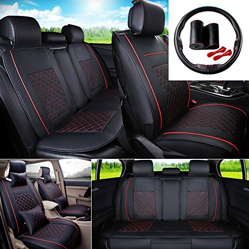 FLY5D 9Pcs Universal Automotive Car Seat Covers PU Leather 5-Seats Car Seat Cover Cushion Front Rear Seat Cover for Full Set For Toyota Highlander RAV4 Honda VEZEL/HRV Nissan X-TRAIL (Black/Red M) (Car Seat Covers Toyota Highlander)