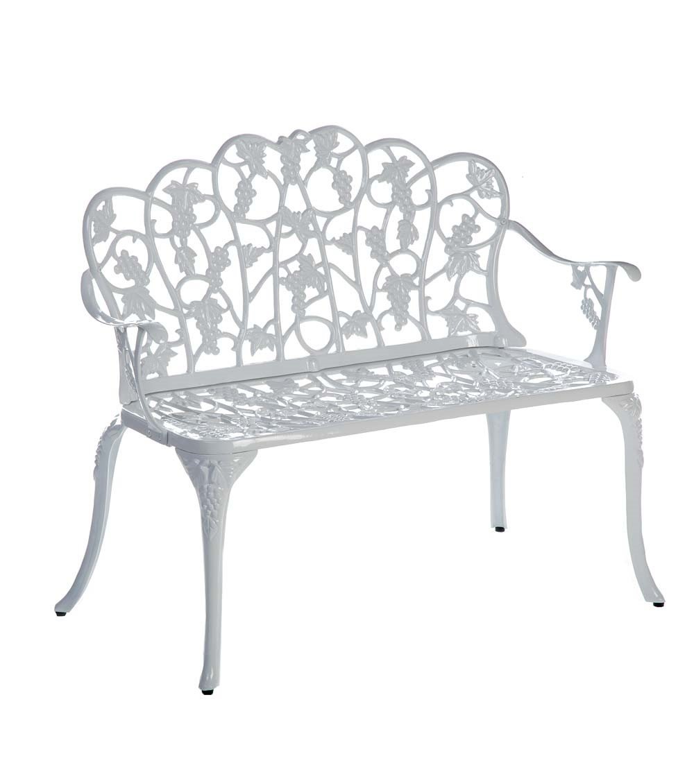 Plow & Hearth 34526-WH Grapevine Outdoor Garden Bench, White