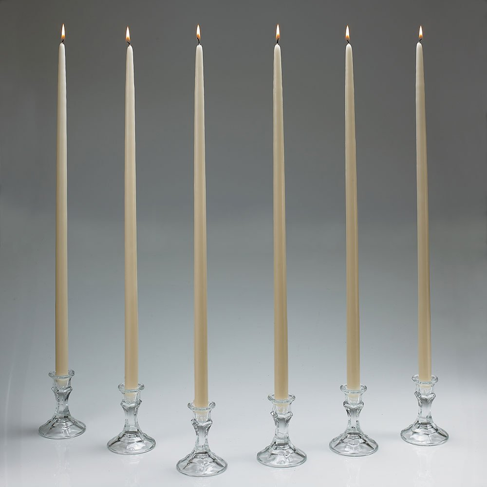 24 Inch Tall Ivory Taper Candles Set of 12'' MADE IN USA'' With the New Ez Safe Storage Box''''