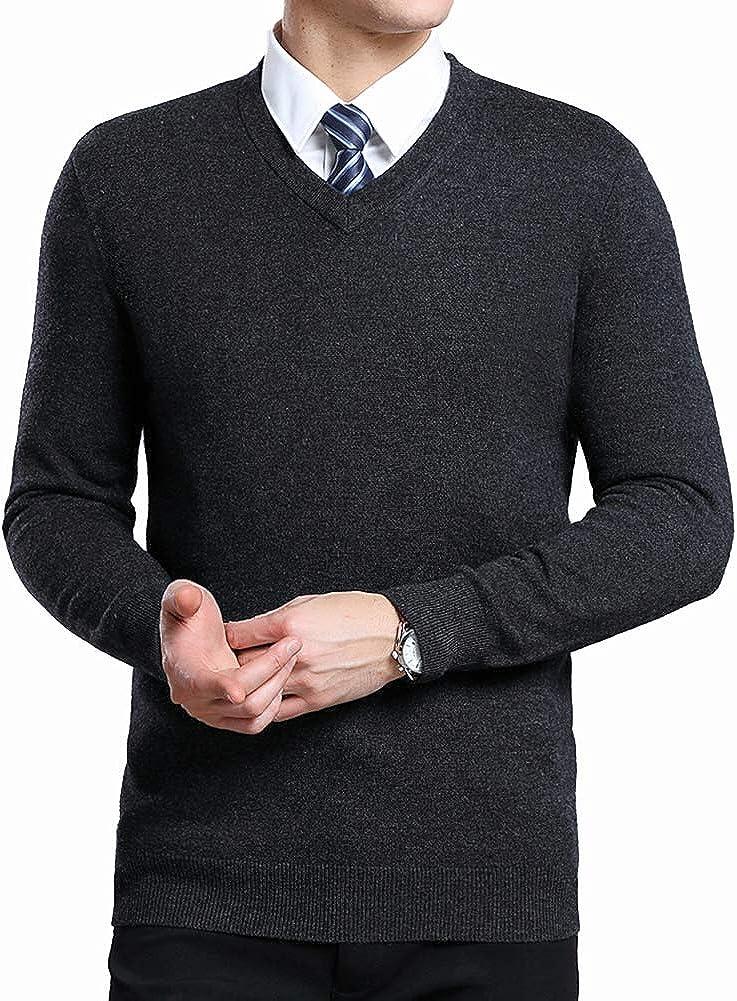 Yingqible Herren West /Ärmellose Pullunder Strickweste V-Ausschnitt Einfarbig Wollweste f/ür M/änner