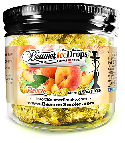 Peach 100G Ultra Premium Beamer Ice Drops Hookah Shisha Smoking Gel. Each bowl lasts 2-4 Hours! USA Made, Huge Clouds, Amazing Taste! Better Taste & Clouds than Tobacco!