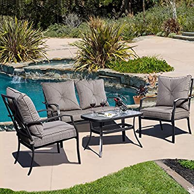 Giantex 4 PCS Steel Frame Patio Furniture Tea Table & Chairs Set Outdoor Garden Pool
