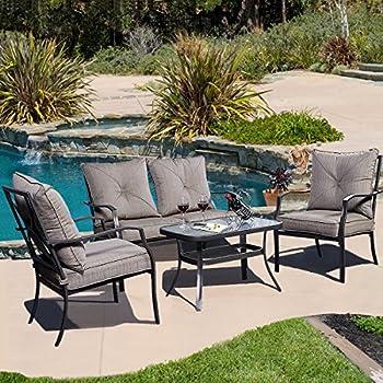 Giantex 4 PCS Steel Frame Patio Furniture Tea Table & Chairs Set Outdoor Garden Pool