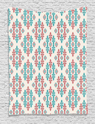 Native American Tapestry Bohemian Decor by Ambesonne, Ancient Ethnic Traditional Local Aztec Tribal Design, Bedroom Living Kids Girls Boys Room Dorm Wall Hanging, 40 W x 60 L Inches, Ivory Orange Teal