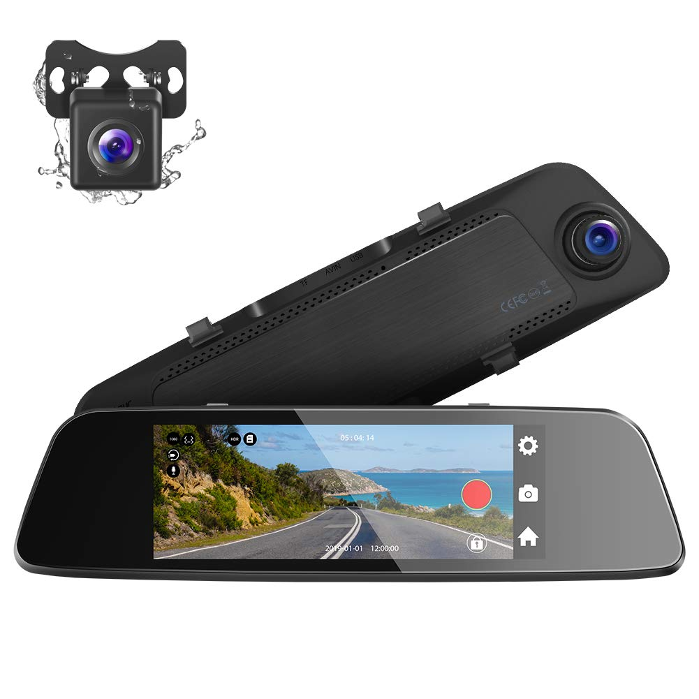 Crosstour Mirror Dash Cam, 7'' Full 1080P IPS Touch Screen 290° Wide Angle Dual Lens Front and Rear Recorder Waterproof Rear View Car Camera with G-sensor, Parking Monitor, Loop Recording by Crosstour