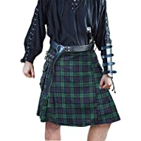Erneut Mens Utility Kilt Negro escocés Negro e