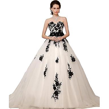 Fair Lady Gothic Vintage White Black Lace Wedding Dress 2018 ...