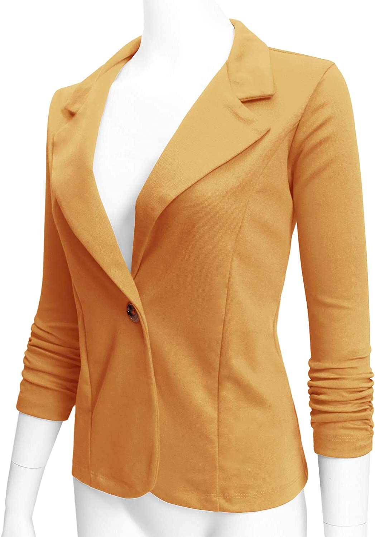 ELF FASHION Womens Casual Work Office Blazer Jacket with Plus Size Size S~3XL MUSTARD1 S
