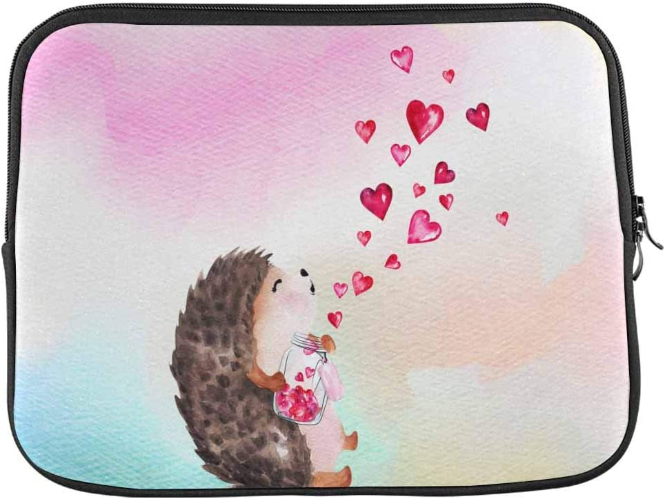 Animal Watercolor Hedgehog Laptop Sleeve Case 14 Inch Briefcase Cover Protective Notebook Laptop Bag