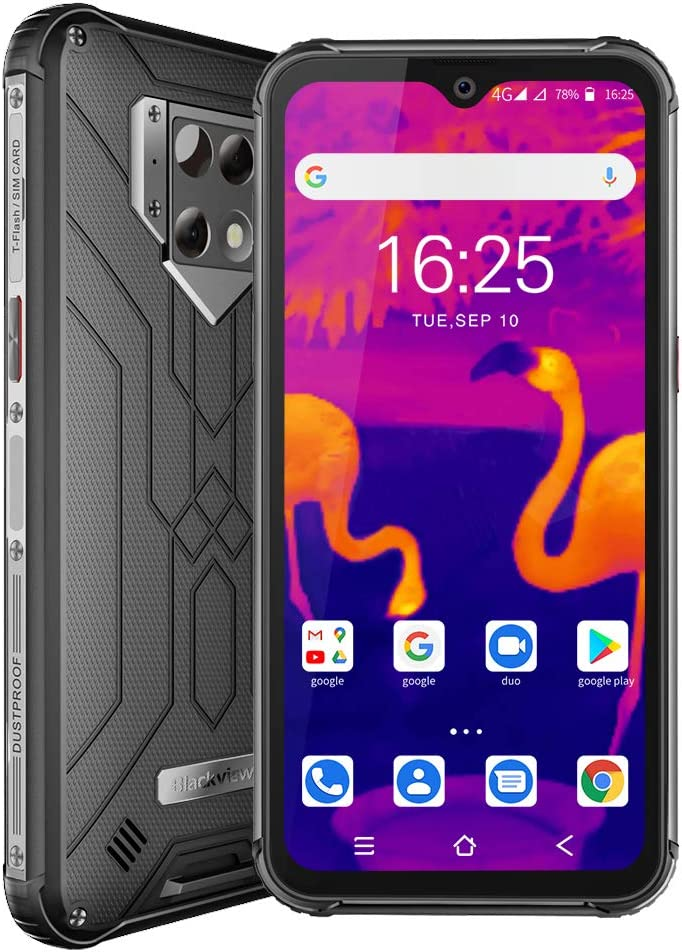 Rugged Cell Phone, Blackview BV9800 Pro with Thermal Imaging, 48MP+16MP, 6GB+128GB, 6580mAh Rugged Smartphone 6.3 Inch FHD+ Display, T-Mobile Unlocked Dual SIM - Grey
