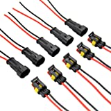 MUYI 5 Kit 2 Pin Way 20-16 AWG Waterproof Connector Wire Harness IP67 AMP Superseal PA66 Nylon Housing 1.5mm Series Terminal Sockets AC/DC Conn Plug Black