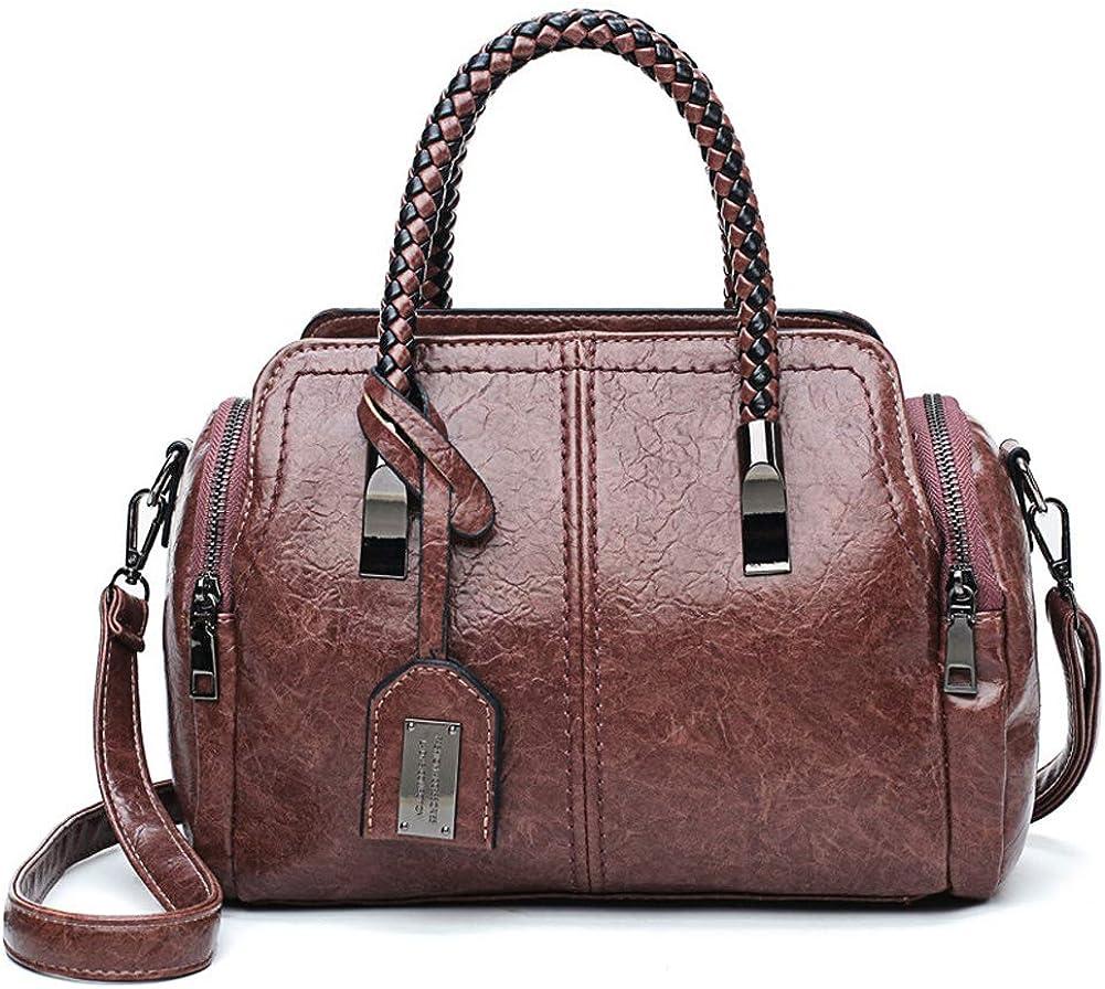 Tenrry Women Retro PU Leather Shoulder Bag Lady Large Handbag Crossbody Bag