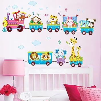 vinilos decorativos vinilo infantil modelo vinilos infantiles elefantes y jirafa en tren