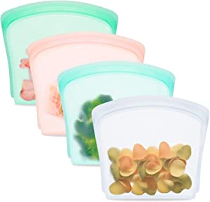 Reusable Food Bags (4 Pack), Silicone Sandwich Snack Storage Bags, Perfect for Storage Fruit Veggies, Kids Snack, Marinate Meat, Freezer Dishwasher Safe(Rose Quartz/Mint/Aqua/Clear)