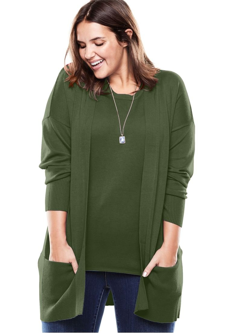 Women's Plus Size Fine Gauge Open Front Long Sleeve Cardigan Forest Green,30/32