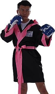 FLUORY Peignoir de Boxe à Capuche Taille Unique MAF01-BLACK with Pink