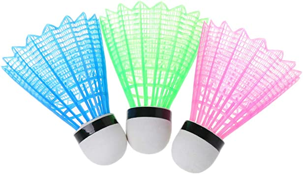 Glueckme 4Pcs Colorful LED Luminous Badminton Dark Night Colored Plastic Foam Glowing Shuttlecocks Glow in Night Sports