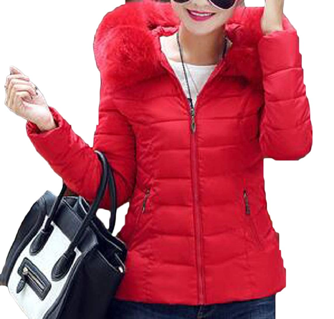 Women Winter Jacket Faux Fur Collar Zipper Coat Warm Hooded Outwear