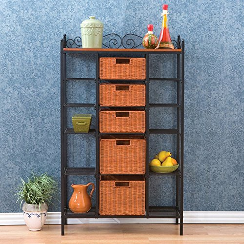 Storage 5 Drawer Baker's Rack Durable Construction Metal Made Features 5 Baskets and 10 Shelves for Display or Storage Kitchen Storage Furniture