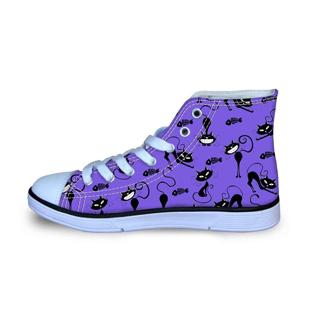 FOR U DESIGNS High-top Canvas Shoes for Kids Funny Cats Printed Classic Sneakers School Boys Girls Flats