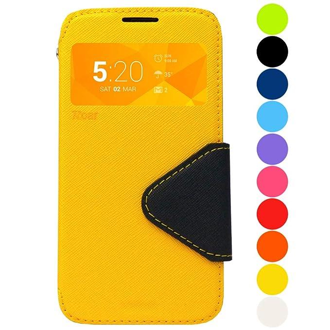 Roar Galaxy J5 2016 Tasche Klapphülle Hülle Handyhülle Flip Case mit Fenster, Premium Etui Schutzhülle geeignet für Samsung G