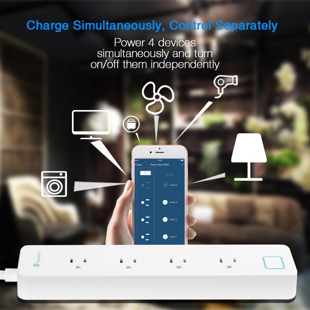 Amazon.com: Surge Protector WiFi Smart Power Strip Socket, Houzetek ...