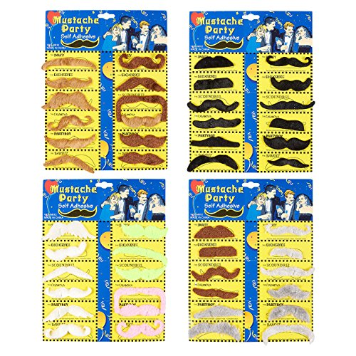 Juvale Fake Mustaches - 48-Pack Self-Adhesive Mustache Stickers, Costume Accessories]()