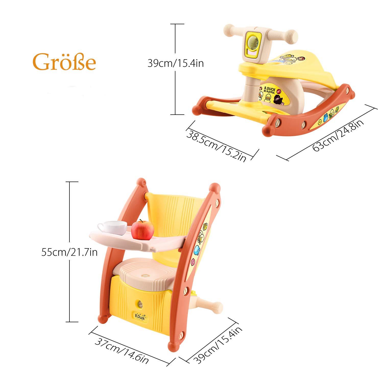 Holzspielzeug Schaukelpferd Esstisch Kinderstuhl 3 in 1 mit Musik und Beleuchtung Baby Kinder