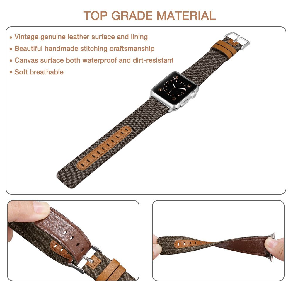 penen Compatible Apple Watch Band 38mm 42mm Leather iWatch Strap Replacement Band Leather Watch Sport Loop Band Replacement with Stainless Metal Buckle for Apple Watch Nike+ Series 3,2,1 by penen (Image #3)