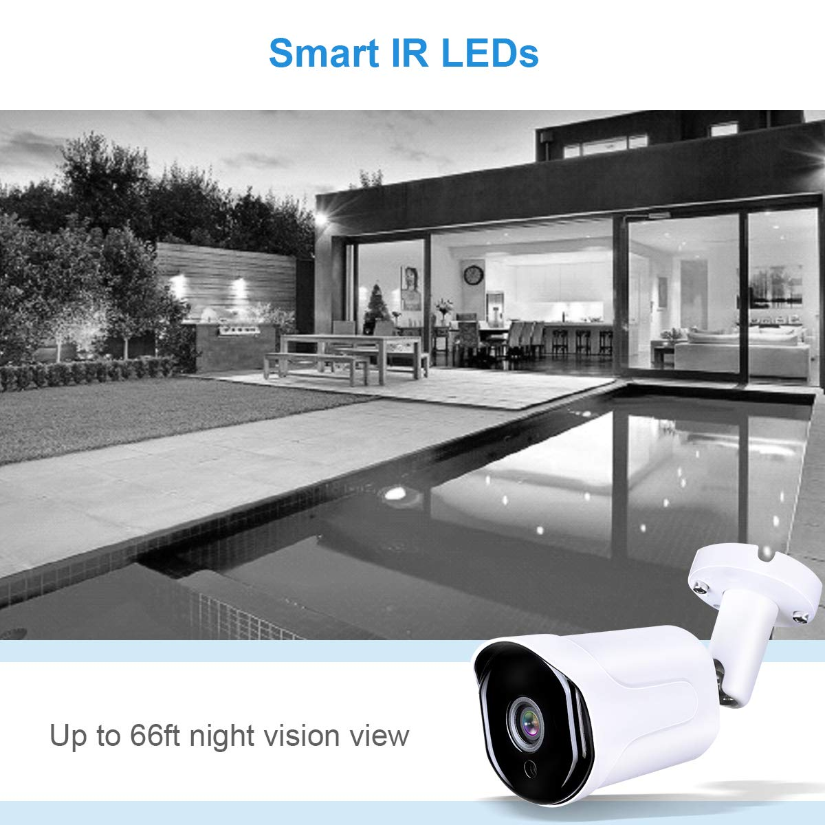 HD-CVI//TVI//AHD//960H HDView 2.4MP 4-in-1 Bullet Security Camera 3.6mm Lens Weatherproof IP66 Smart IR Night Vision Anti IR Reflection 30fps@1080P COC OSD Outdoor CCTV Camera for Home Surveillance 864255
