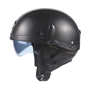 Casco Moto Harley Casco con Gafas De Tres Colores,Black