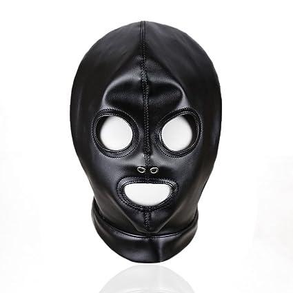 LUOEM Máscara de cuero negra Ojos abiertos Boca abierta Cuello vendado Máscara de Halloween Cosplay Hoodie