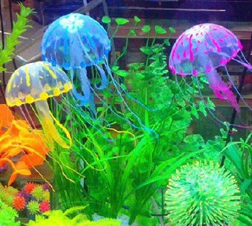 SKL Glowing Effect Soft Silicone Artificial Jellyfish Aquarium Ornament (Blue, Small)