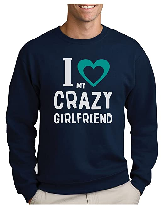 Green Turtle T-Shirts Sudadera para Hombre - I Love My Crazy Girlfriend - Regalo Original para Novios, Esposos: Amazon.es: Ropa y accesorios
