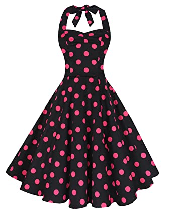Anni Coco Womens Halter Polka Dots 1950s Vintage Swing Tea Dress - Medium - 2nd -