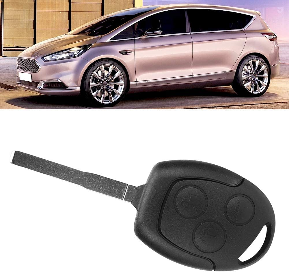 Car Key Fob 3 Button 433Mh Auto Remote Key Fob with Chip Car Remote Entry Key Fob Fits for Focus C-Max S-Max Black