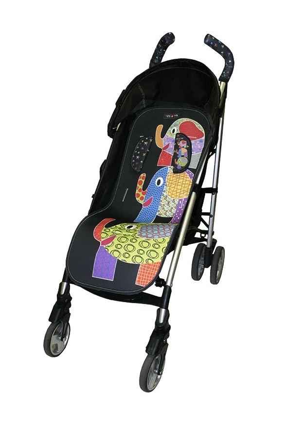 Tris & Ton conjunto colchoneta silla paseo + empuñadura funda protector manillar + protector arneses (Trisyton) (Elephant)