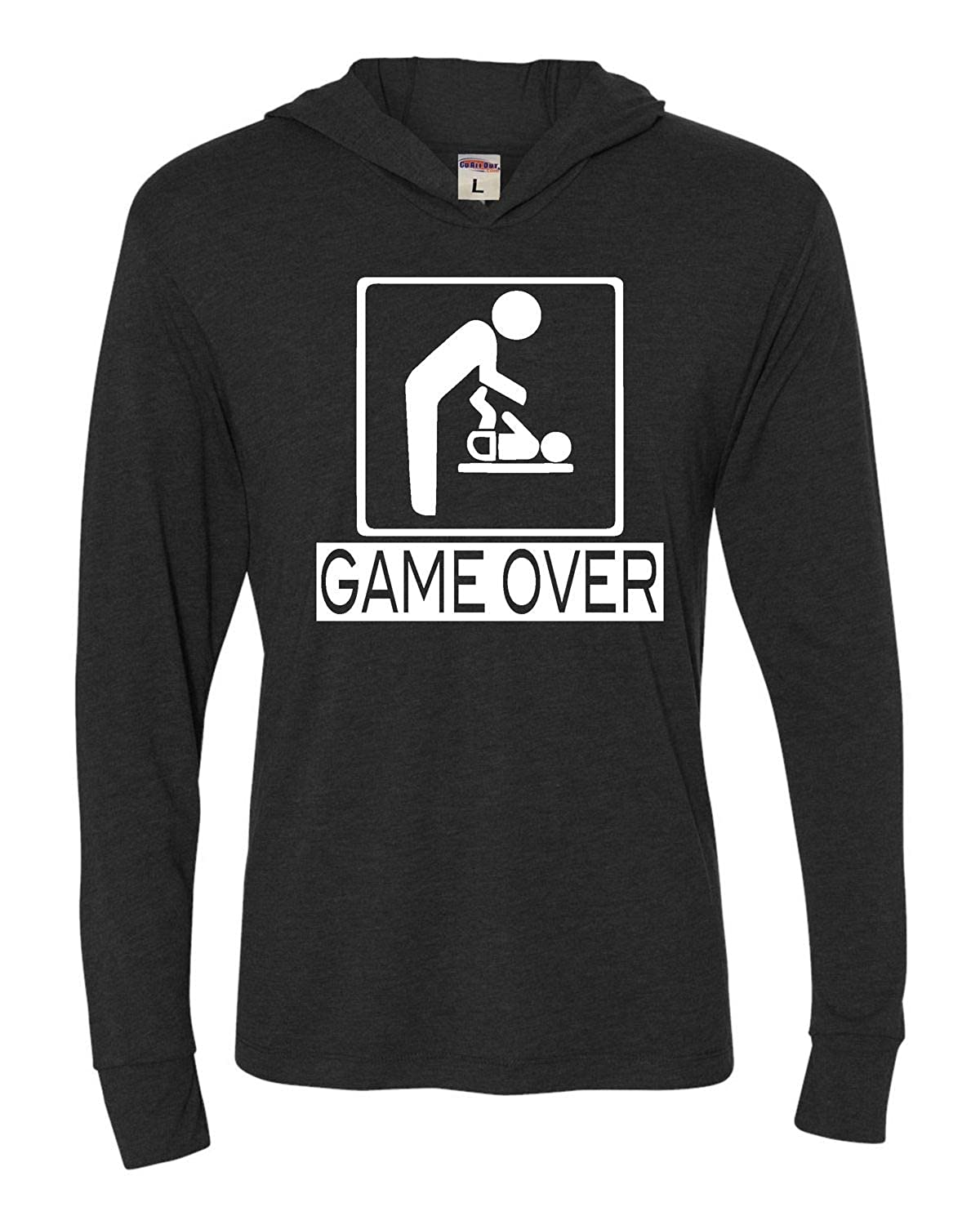 1961b7248 Amazon.com: Adult Game Over New Dad New Father Funny Deluxe Triblend Hooded  T-Shirt: Clothing