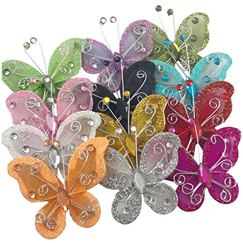 YAKA Organza Wire Butterfly Craft (Rhinestones & Shining Effect) Table Scatter Wedding Birthday Party Decorations (24PCS) -