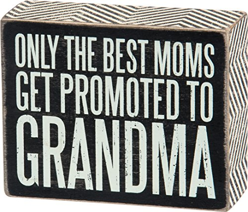 Grandma Sign - Primitives by Kathy Box Sign, Promoted to Grandma, 4 by 5-Inch