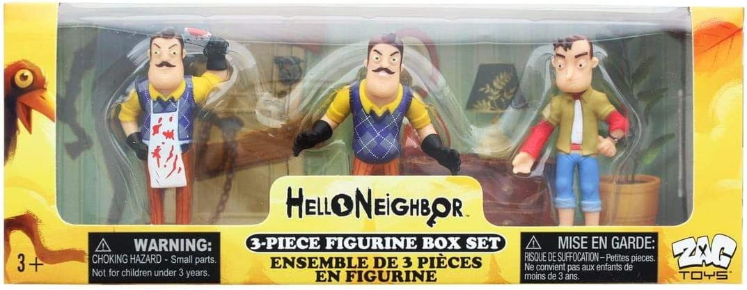 Amazon Com Hello Neighbor 3 Piece Figurine Box Set Series One Complete Playset Of 3 Toy Figures Toys Games